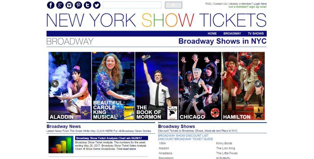View of nytix.com website home