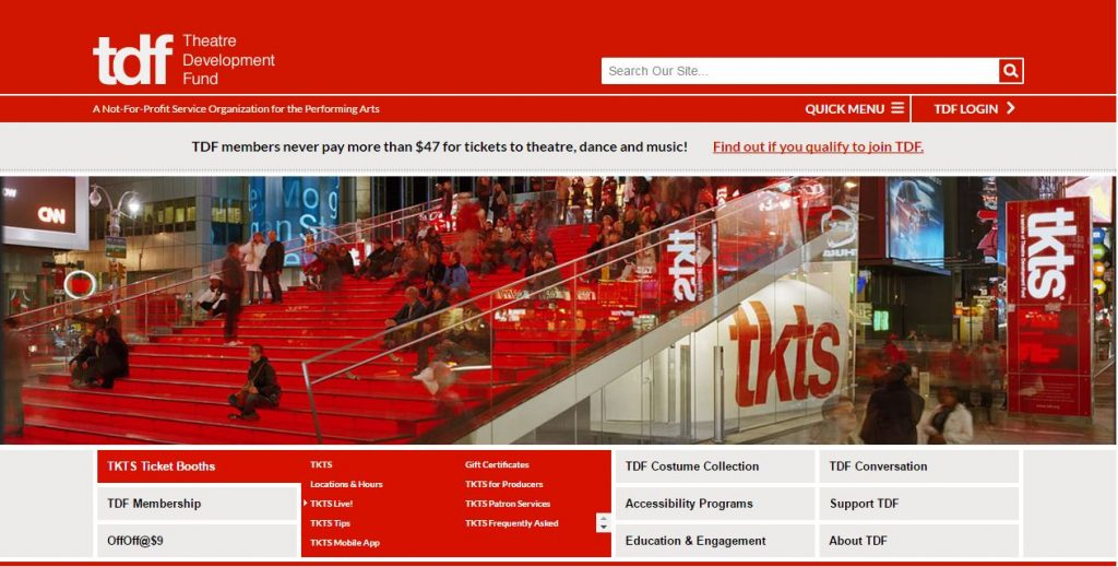 Ticketing website view of home screen